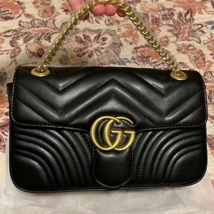 GG Black Quilted Chain Purse